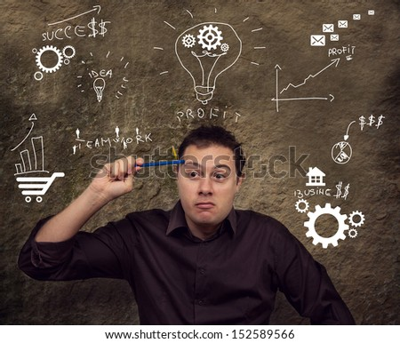 Business man thinking and planing - stock photo