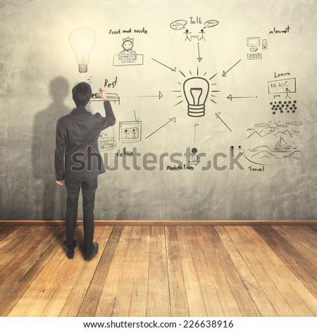 Business man thinking idea writing creative chart on wall - stock photo