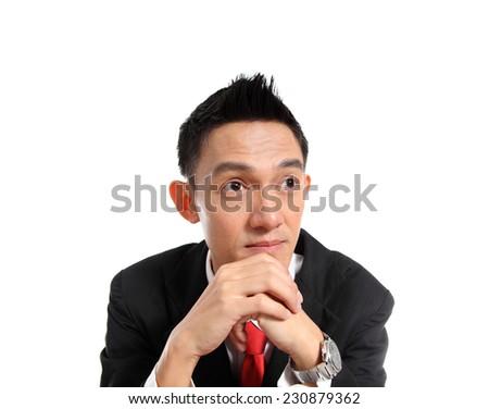 Business man thinking on white background.  - stock photo