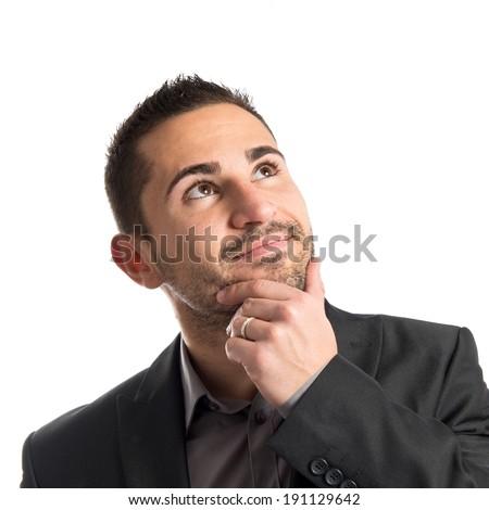 business man thinking over white background  - stock photo