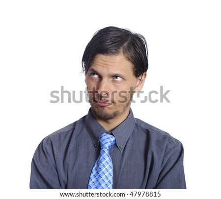 Business man thinks while isolated on white - stock photo
