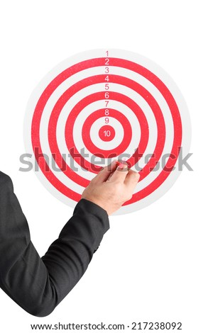 business man throwing darts at dart board red line isolated on white background with clipping path - stock photo