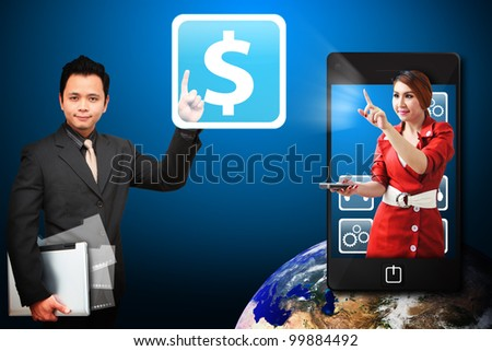 Business man touch the Money icon from mobile phone : Elements of this image furnished by NASA - stock photo