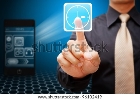 Business man touch the Time icon