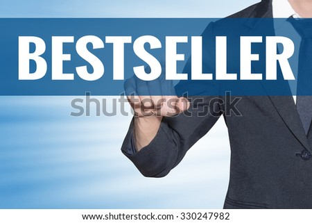 Business man touching Bestseller word on blue virtual screen - stock photo