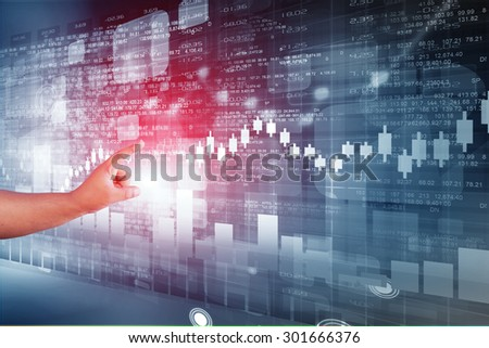 Business man touching stock market 	 - stock photo