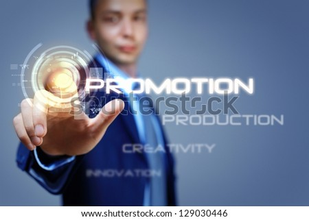 Business man touching virtual display. Business and technology concept - stock photo