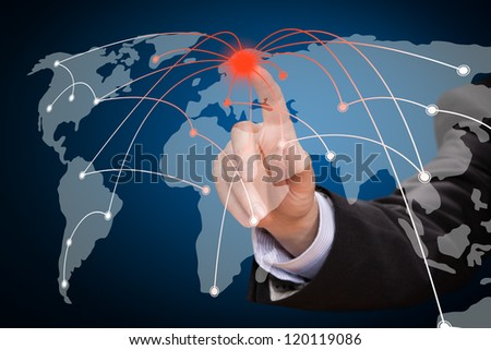 Business man touching world map screen. Social network. - stock photo