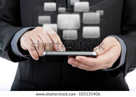 Business man use mobile phone with application icons - stock photo
