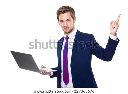 Business man use of notebook and finger up