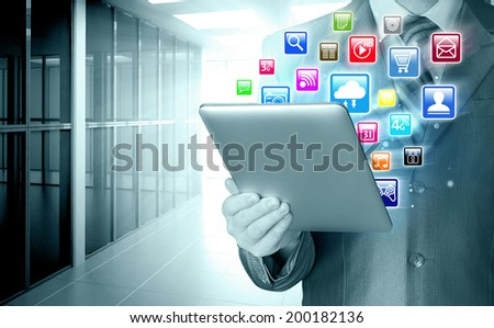 Business man use tablet  in office - stock photo