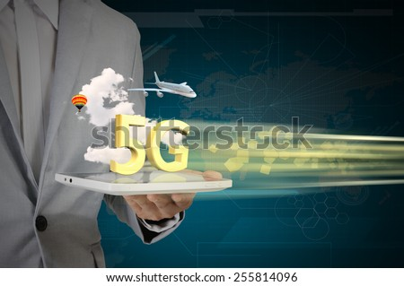 Business Man use Tablet PC on 5G High speed network communication internet.  - stock photo