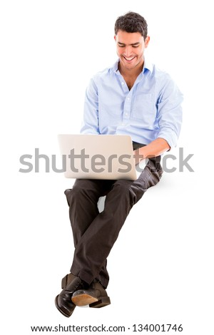 Business man using a laptop - isolated over a white background - stock photo