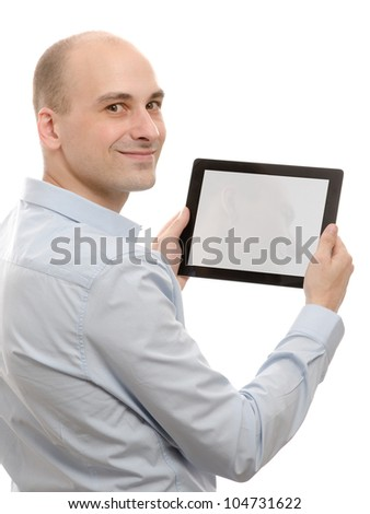 business man using a touch screen device isolated on white background - stock photo