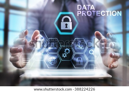 business man using modern tablet computer. Data Protection concept. business tehnology and internet concept. - stock photo