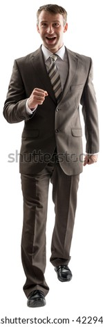 Business man walking and looking at camera isolated on white - stock photo