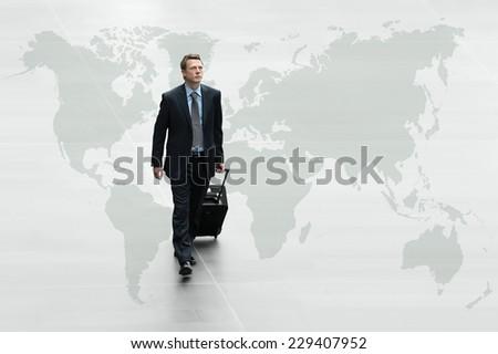 business man walking on the world map, international travel concept - stock photo