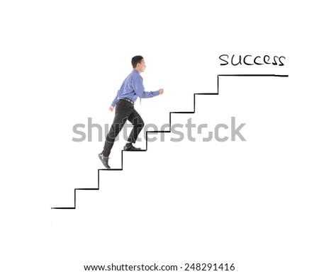 Business man walking success on profit stairs - stock photo