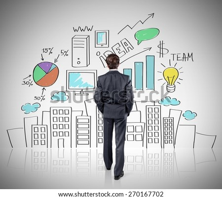 Business. Man walking to drawing color concept city - stock photo