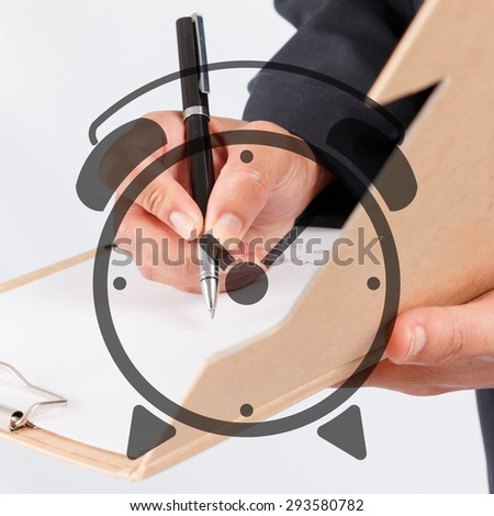 Business man was signing documents - double exposure style - stock photo