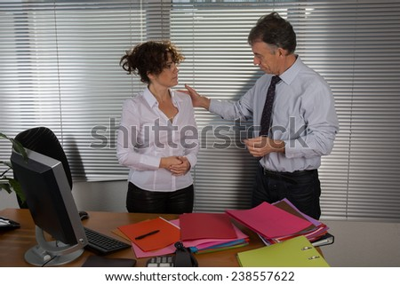 Business man welcomes his employee