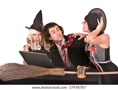 Business man, witch girl with, laptop and broom in office. Humor. - stock photo