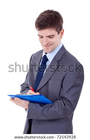 Business man With a Clipboard on an Isolated Background - stock photo