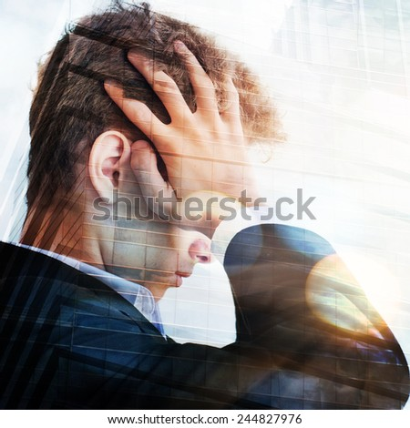 Business man with a depressed expression