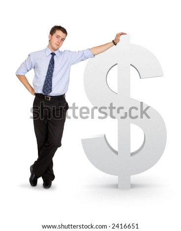 business man with a dollar symbol over a white background - stock photo