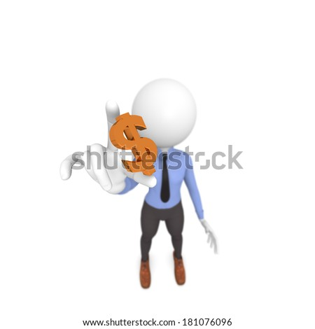 Business man with a golden dollar icon - stock photo