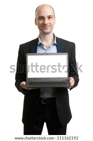Business man with a laptop - isolated over white background