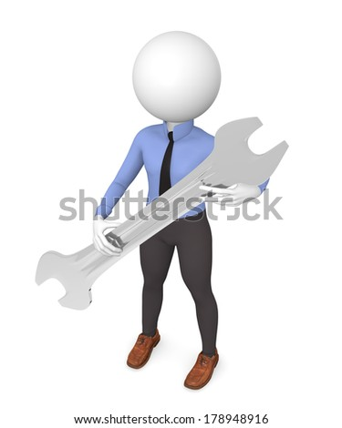 Business man with a wrench, 3d service concept