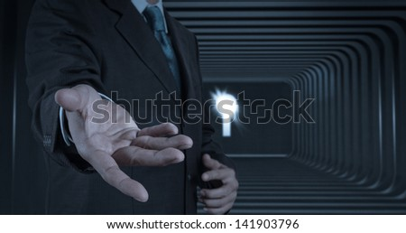 business man with an open hand as showing something concept - stock photo