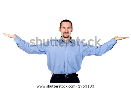 business man with arms open hands facing up over white - stock photo