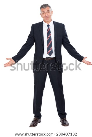 Business man with arms outstretched. - stock photo