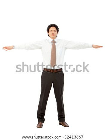 Business man with arms outstretched isolated over a white background - stock photo