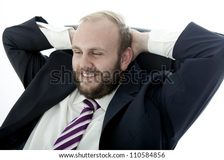 business man with beard happy and relaxing