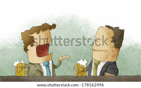 Business man with beer - stock photo