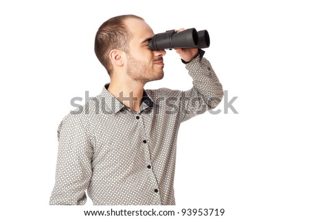 Business man with binoculars looking to the future or looking for a professional staff