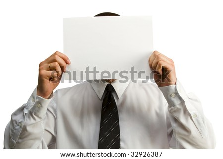 business man with blank paper