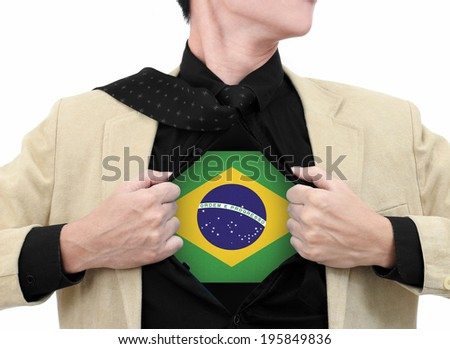Business man with Brazil flag in shirt. - stock photo