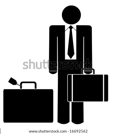 business man with briefcase and luggage - stock photo