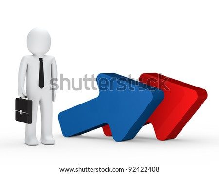 business man with briefcase stand next arrow