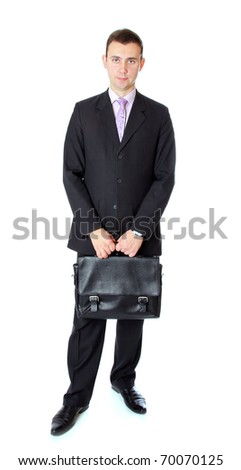 business man with case waiting for partner