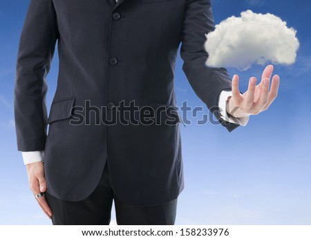 business man with cloud computer concept photo - stock photo