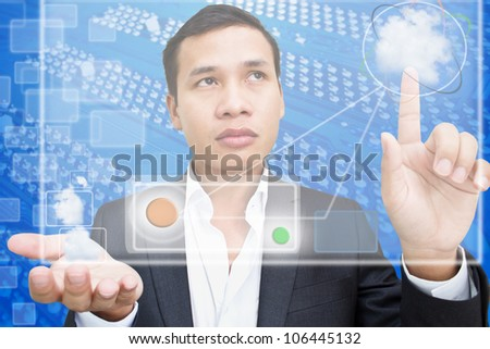 Business Man with Cloud Computing - stock photo
