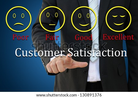 Business man with customer satisfaction concept - stock photo