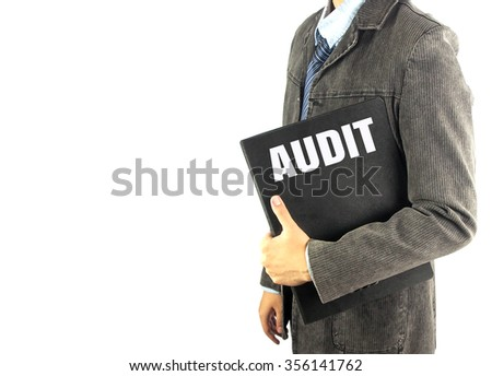 business man with document file word audit with white background - stock photo
