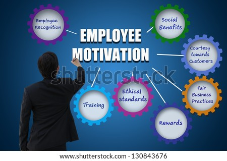 Business man with employee motivation concept - stock photo
