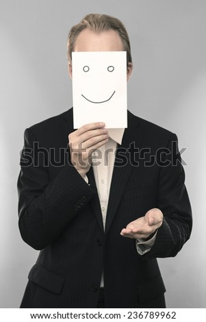 Business man with giving gesture